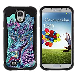 ZeTech Rugged Armor Protection Case Cover - Japanese Dragon Monster - Samsung Galaxy S4