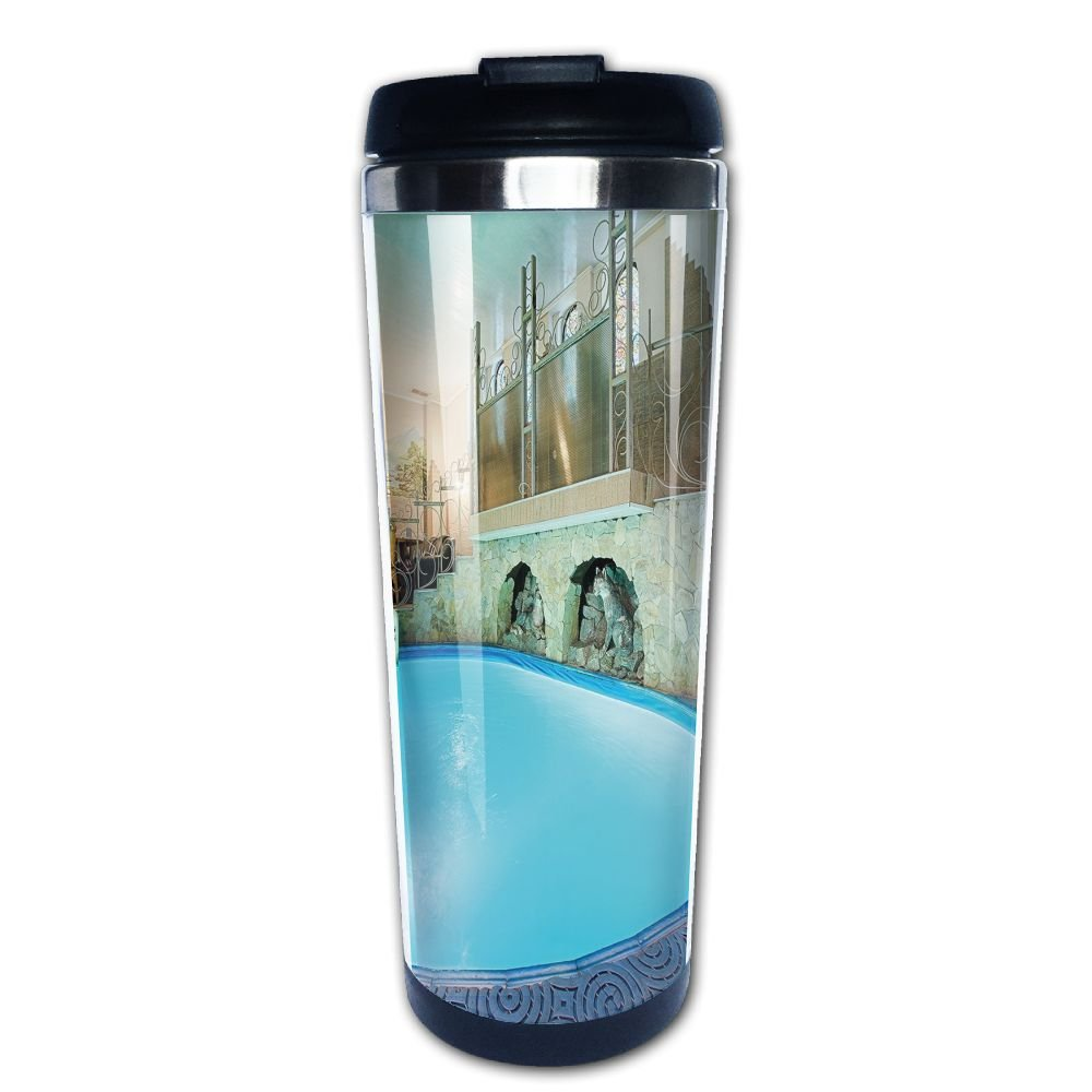 AILIKAFEE Vivid Blue Swimming Pool In Spa Interior Resort Relaxation Theraphy Theme Coffe Mug Thermal Cup With Easy Clean Lid 14-Ounce Mug