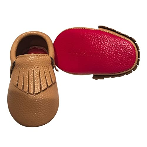d03eceedd6d0 Baby Girls Camel Red Soft Sole Faux Leather Tassel Moccasin Crib Shoes 3-6M