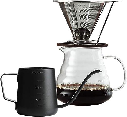 QQDL Filtro de café Filtros Cafetera Acero Inoxidable Cono Sin ...