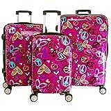 pb travel Villagio Love, Peace 3 Piece Expandable Hardside Spinner Luggage Set