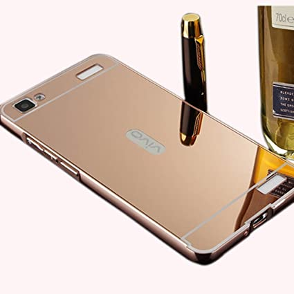 half off bd9a2 4d2db VIVO V1 Max Mirror Bumper With Metal Back Cover - Gold: Amazon.in ...