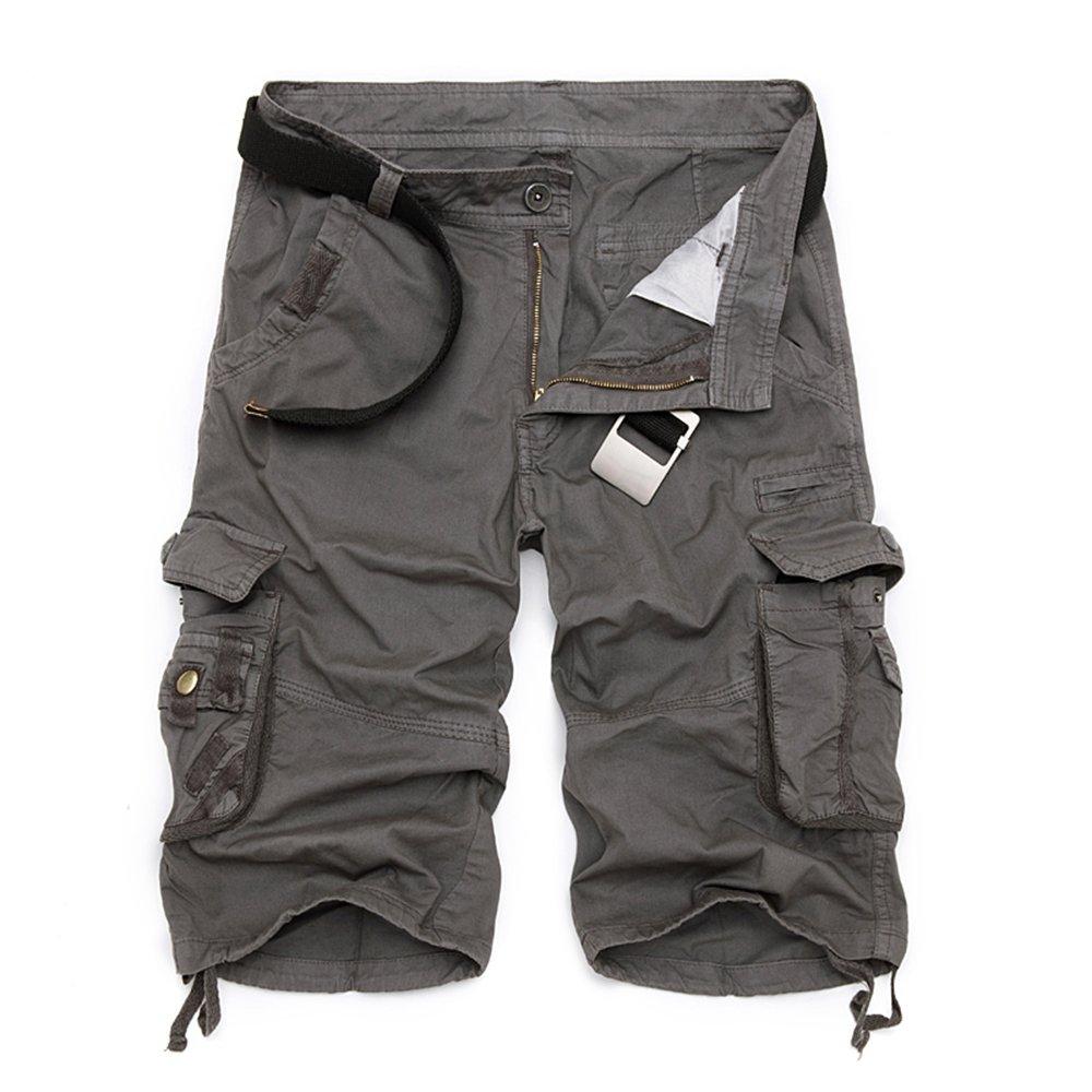 RockJay Cargo Shorts for Mens, Rib Waist/Multi Pocket,Leg Straight & Loose Fit
