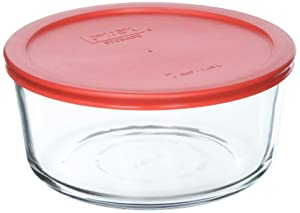 Pyrex 7 Cup Storage capacity Plus Round Dish With Plastic Cover Sold in packs of 4
