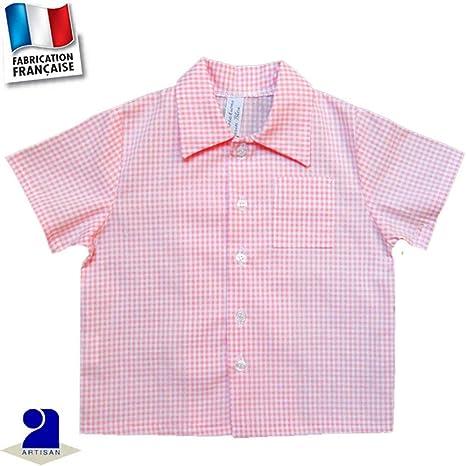 Camisa Niño Manga Corta, Vichy rosa rosa Rose Talla:81 cm 18 mois: Amazon.es: Bebé