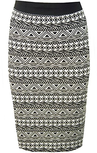 New Womens Printed Midi Skirts Bodycon Jersey Pencil Skirts (6, Aztec)