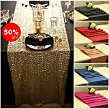 QueenDream 14x120 Inch Sparkly Gold Sequins Table Runner