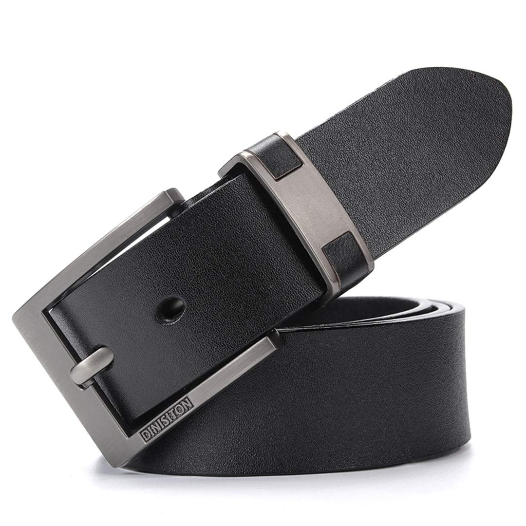 JUIHUGN Cow Genuine Leather Belts for Men Luxury Mens Belt Leather Belt Alloy Buckle Casual Male Vintage Strap DS802 Black 100cm