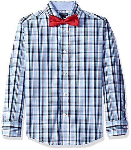 Tommy Hilfiger Big Boys' Plaid Shirt with Bow Tie, Light Blue, 16 (Plaid Suit Cotton)