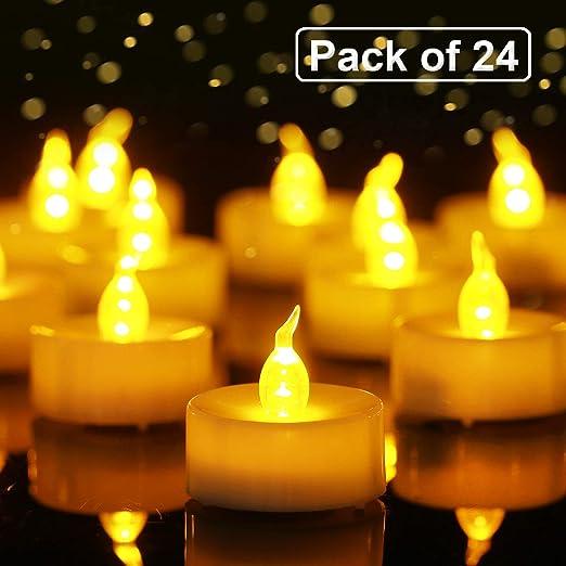 Homemory Pack de 24 LED sin Llama Parpadeo Bombilla luz del te ...