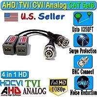 HD Balun 6 Pair 12pcs CCTV BNC Video CAT5e 6 Surge Protect 1080P 720P 960H for AHD CVI TVI Analog CCTV Cameras