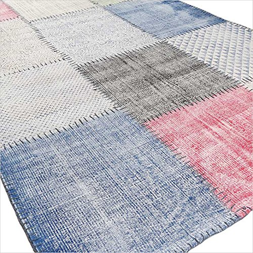 Eyes of India 4 X 6 ft White Colorful Cotton Block Print Accent Area Overdyed Dhurrie Rug Woven Flat Weave by Eyes of India (Image #2)