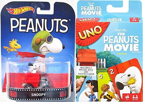 Go Peanuts Uno Card Game & Snoopy Red Baron Dog House Hot Wheels Car (Uno Peanuts)
