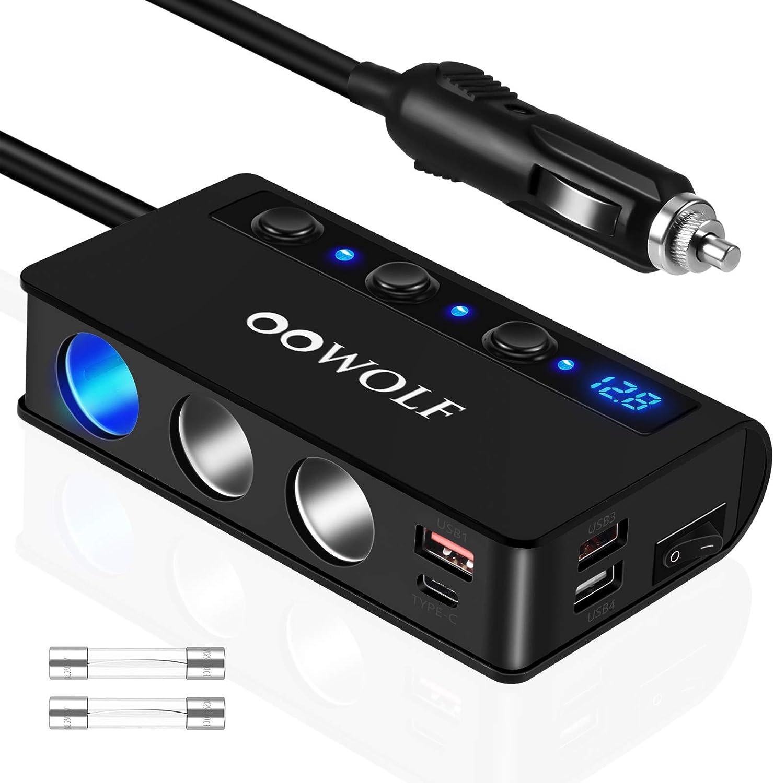 OOWOLF QC 3.0 Adaptador de Mechero, 180W DC 12V/24V Adaptador De Encendedor De Cigarrillos con 3 Puertos USB y Adaptador, 1 Puerto Tipo C, Cargador De Coche para iPhone 12,11, GPS, Dash CAM, Sat Nav