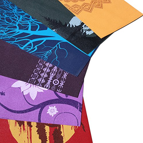 "Aurorae Printed Extra Thick 5mm and 72"" Long Premium Eco Safe Yoga Mat with Non Slip Rosin"