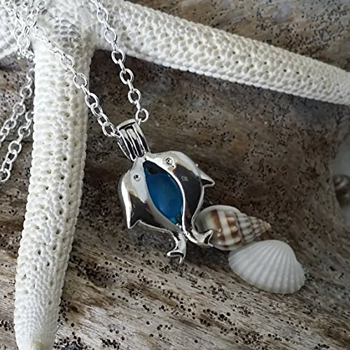 Pendant Glass Dolphin (Handmade jewelry from Hawaii, dolphin wish locket sea glass necklace, sterling silver chain, Hawaiian Gift, FREE gift wrap, FREE gift message, FREE shipping)