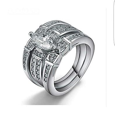 7ae2f9fe4e1a2 Buy Keyline Platinum Plated Three Set American Diamond Ring for ...