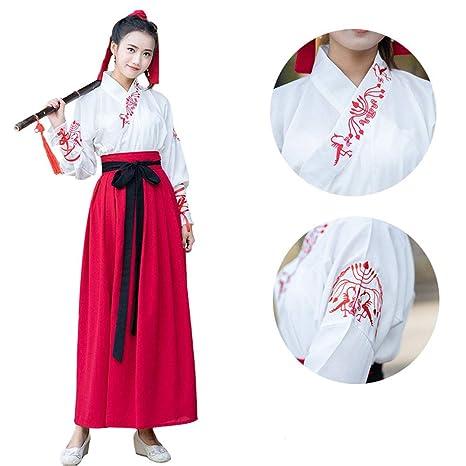 YCWY Hanfu Chino para Mujer, Vestido Chino de Manga Larga ...