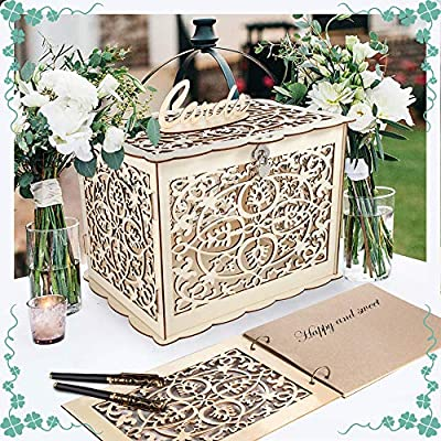 Coodoo Wedding Decorations Card Box and Guest Book - Wooden Gift Card Holder Money Box with Security Heart Lock Rustic Wedding Supplies for Party Reception Baby Shower Birthday Graduation