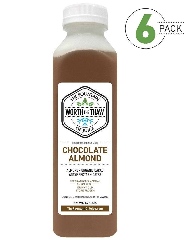 The Fountain of Juice Raw Cold-Pressed No-HPP Chocolate Almond Nut Milk (6 Pack)