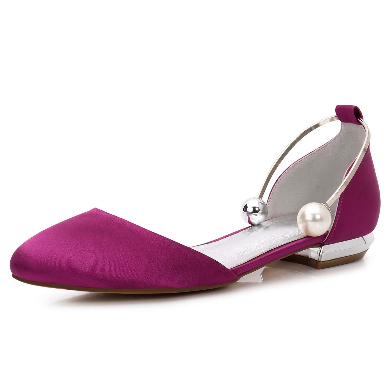 Elobaby Zapatos De Boda De Mujer Sandalias Hechas a Mano con Punta Cerrada Plana Perla Plataforma De SatéN /1.5cm TalóN / FR504 44 EU|Purple