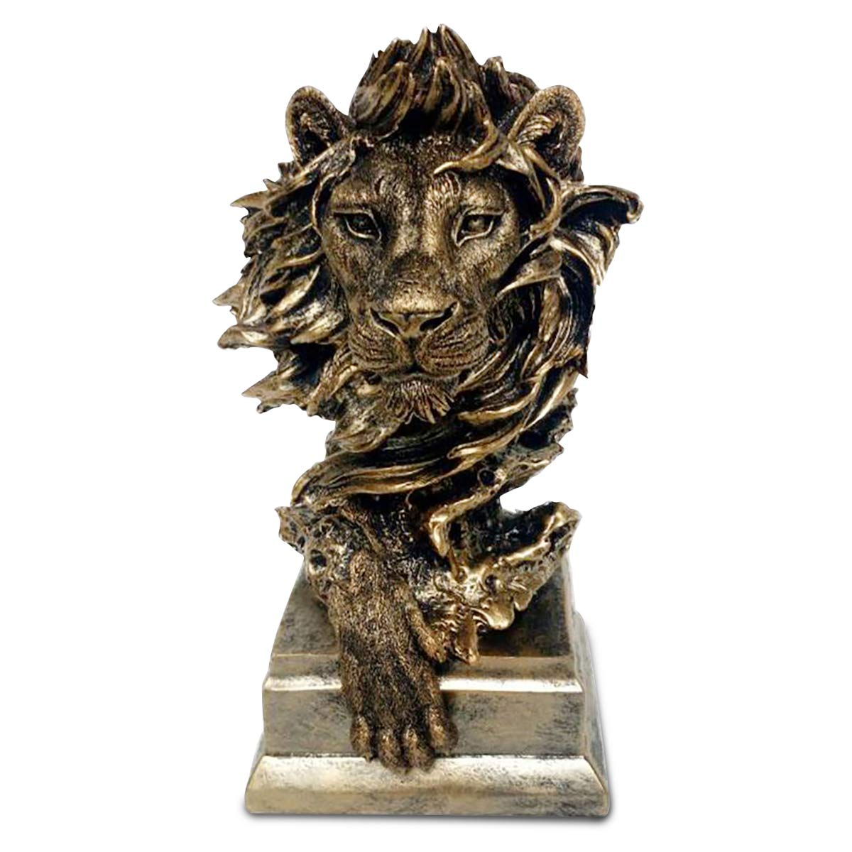 Baroque Royal Lion Head Statue, 12 Inch Lion Bust Collectible Figurine in Bronze, Lion Sculptures and Statues for Home and Office Desk Décor, Heavy Duty Resin Statuette Figure Well Packed