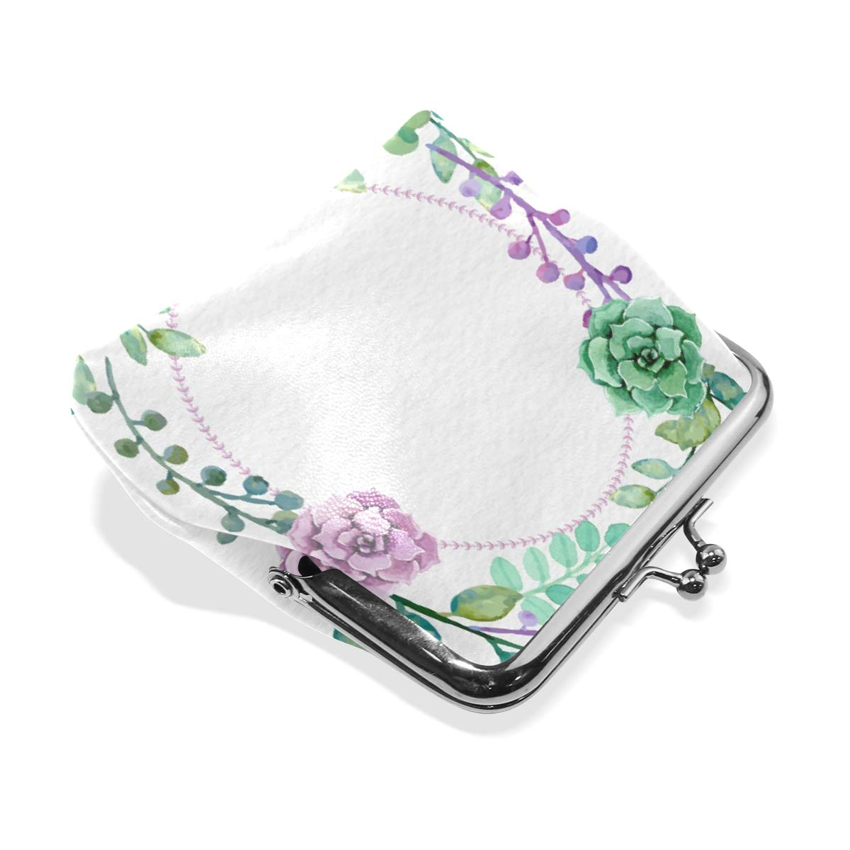 Womens Leather Kiss Lock Double-Sided Lovely Flower Circle Coin Purse Wallets