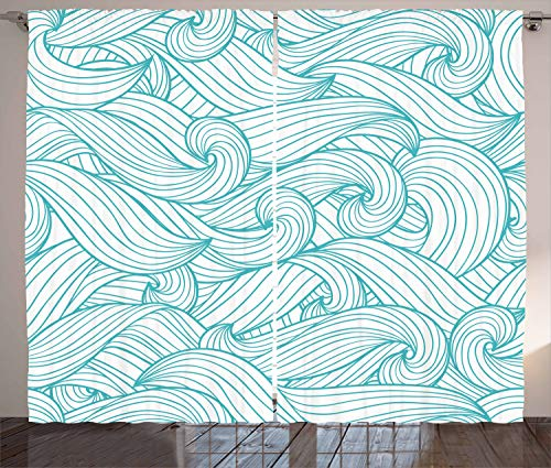 Ambesonne Turquoise Decor Collection, Abstract Pattern with Waves and Cloud Fashion Modern Style Artwork Pattern, Living Room Bedroom Curtain 2 Panels Set, 108 X 90 inches, Light Sea Green