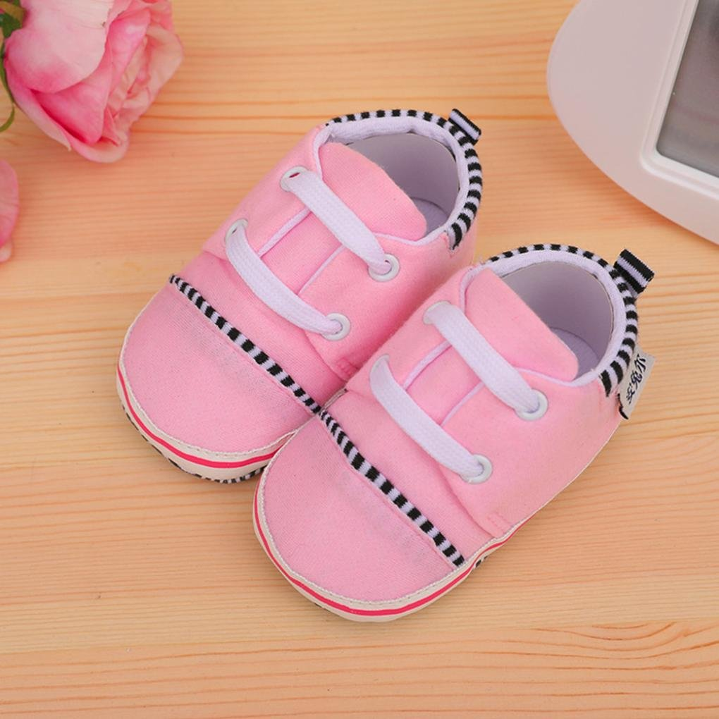 Voberry@ Cute Unisex Baby Canvas Sneakers Soft Sole Lace Up Shoes Crib Toddler Prewalker Shoes