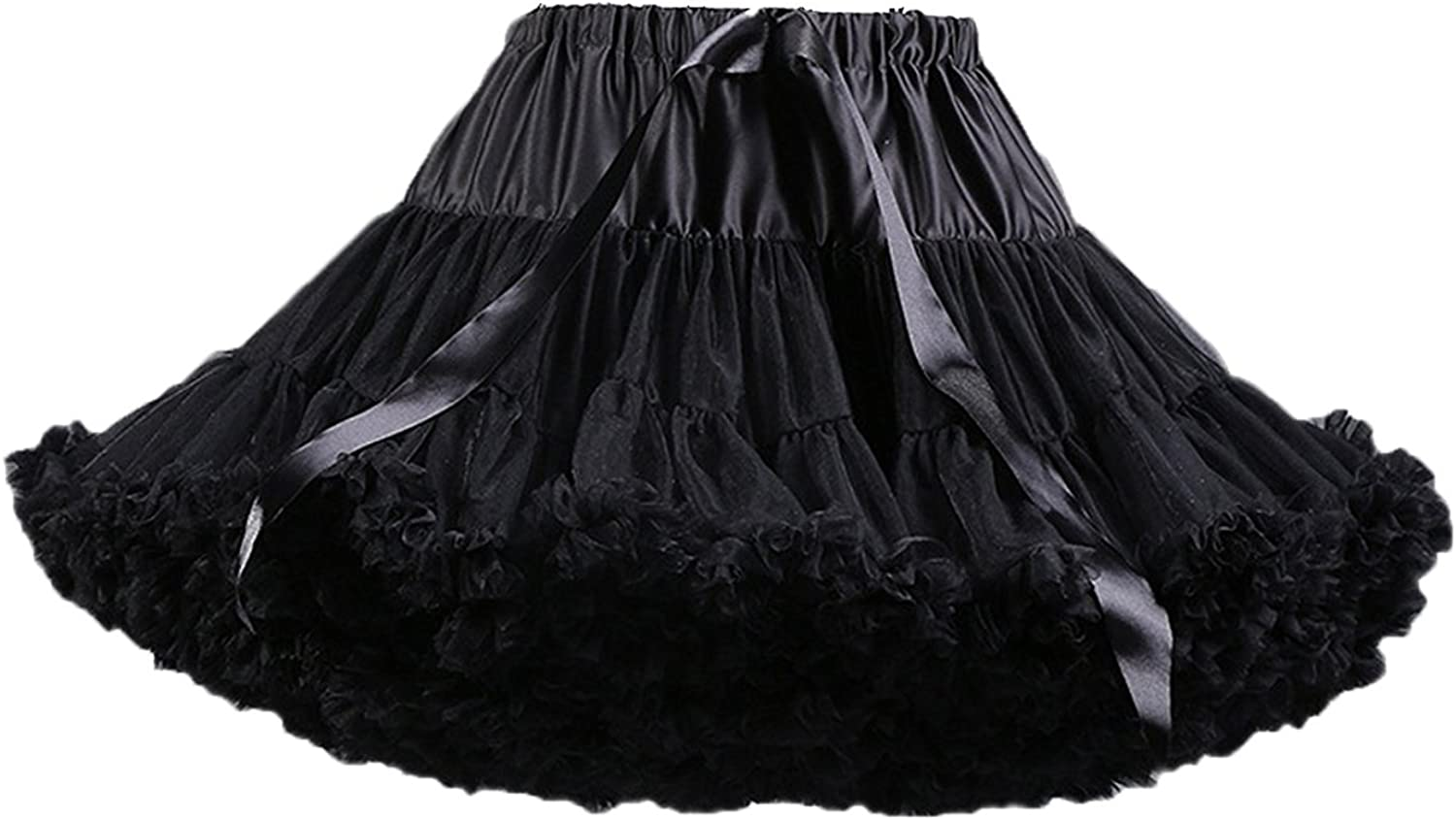 Radtengle Womens 50s Ruffled Petticoat Tutu Skirts Multi-Layered Tulle Pleated Ballet Dance Costume Accessories