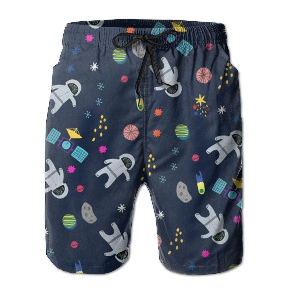 EYBFHUO Swim Trunk Relaxed Male Cartoon Astronaut Beach Shorts Swimwear.