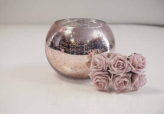 Apac Jarrón de Cristal de Burbujas de Oro Rosa DE 11,5 x 16 cm ...