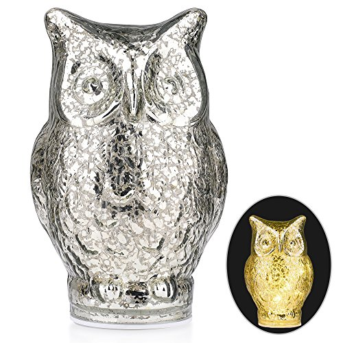 ITART Lighted Owl Figurine Decorations Mercury Glass Battery Operated Owl Lamp Owl Gift Lights