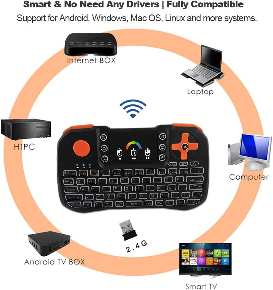 Color: with Li-ion battery Calvas 2.4GHz Wireless Keyboard TZ10 Touchpad Mouse Handheld Remote Control w//Colorful Backlight For Smart Android TV Box PC Notebook