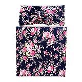 Ufraky Muslin Swaddle Blanket Floral Print Cotton Receiving Blankets Headband Set, 31.5x31.5 (Dark Blue)