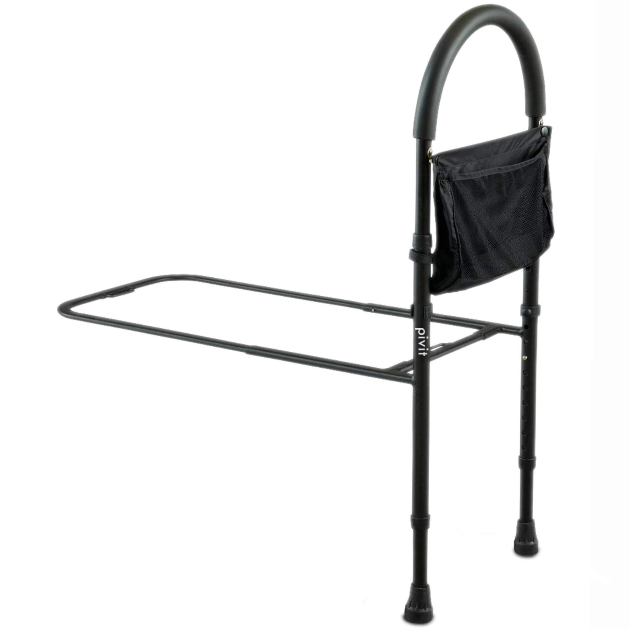 Pivit Bed Assist Safety Bar with Storage Pocket | Height Adjustable with Non-Slip Grab Handle for Getting Out of Beds | Easy to Assemble Elderly Assistance Guard Rails for Handicap, Seniors & Adults