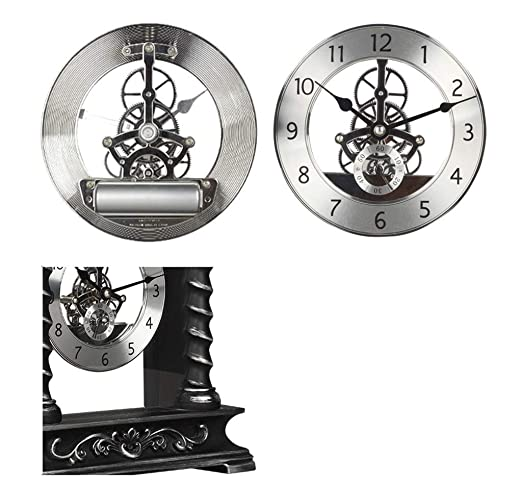 Amazon.com : Family Fireplace Clocks Roman cl á sico Table Clock Mantra Ticking Resin Decorative Watches with Gear for Living Room Suitable for Living Room ...