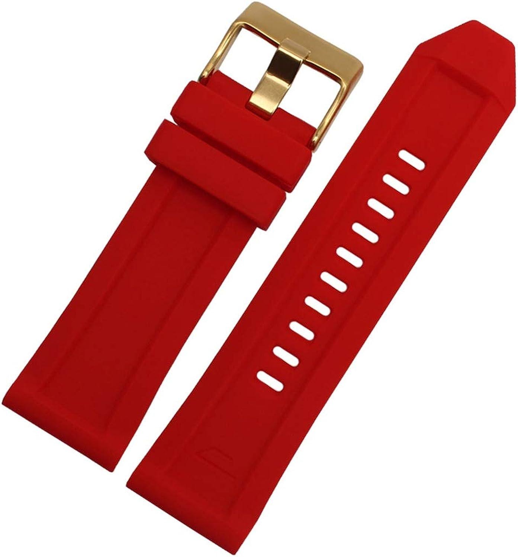 Fantasty-Ubiquity - Pulsera de Goma de Silicona Compatible con Reloj Diesel de 24 mm y 26 mm para Hombre, Resistente al Agua