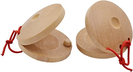 Kids Wooden Castanet Rattle Clapper with Handle Rhythm Percussion Music Toy  Wooden Pre-School Toys