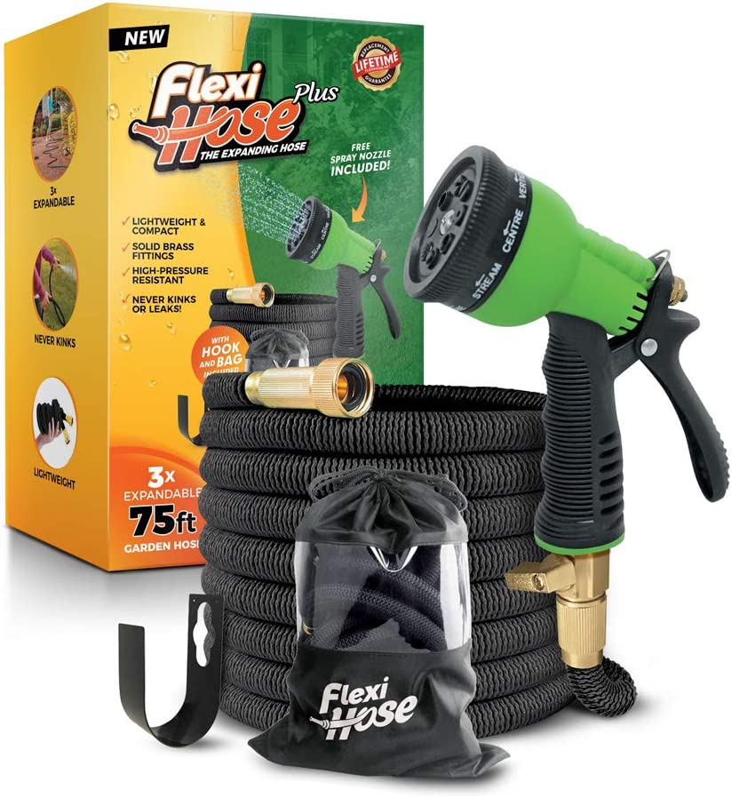 Flexi Hose Plus Lightweight Expandable Garden Hose, No-Kink Flexibility, Extra Strength with 3/4 Inch Solid Brass Fittings & Double Latex Core, Carry Case, Hook (75ft)