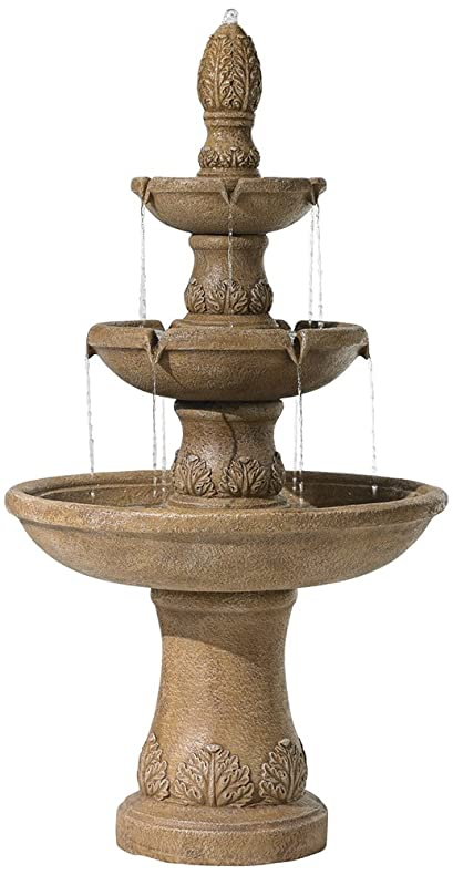 Domanico Three Tier Tan Indoor Outdoor 57u0026quot;H Floor Fountain