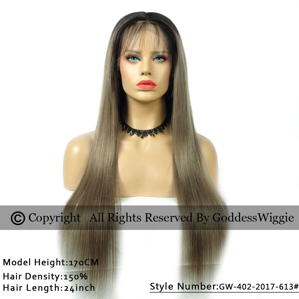 New Fashion 2T Ombre Ash Brown Hair Color Silky Straight Glueless Brazilian Human Hair Lace Front Wigs (22inch 180%)