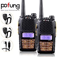 Baofeng Pofung 2PCS UV-6R UHF/VHF Dual-Band Dual Display 136-174/400-520MHz High Power 5W/1W Two-Way radio Walkie Talkie Transceiver with 2PCS  BF-S112 Speaker+Programming Cable