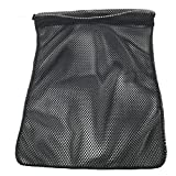 SGT KNOTS Mesh Bag USA Made (Small) 550 Paracord Drawstring Bag - Ventilated Washable Reusable Stuff Sack for Laundry, Gym Clothes, Swimming, Camping, Diving, Travel (12 inch x 15 inch - Black)