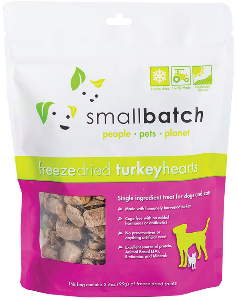 Smallbatch Freeze Dried Treat Turkey Hearts for Dogs and Cats 3.5 Ounce