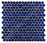 Penny Round Tile Cobalt Blue Porcelain Mosaic Shiny Look (Box of 5.1 Sq Ft)