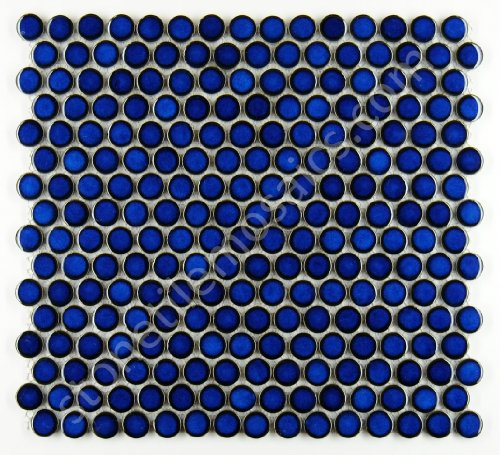 - Penny Round Tile Cobalt Blue Porcelain Mosaic Shiny Look (Box of 5.1 Sq Ft)