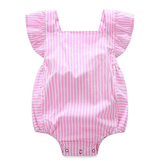 1d218094c07 Newborn Infant Baby Girls Clothes Pink Striped Ruffle Romper Jumpsuit  Bodysuit (70(0-