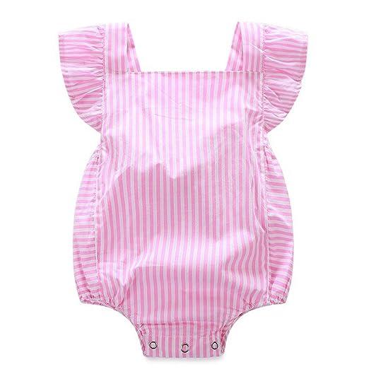 5dc2bd05c Amazon.com  Newborn Infant Baby Girls Clothes Pink Striped Ruffle ...