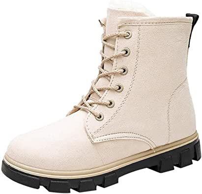 Janjunsi Women's Martin Combat Boots - Warm Fur Lined Autumn Winter Lace up Thick Heeled Shoes Chinese Style Fashion Durable Sneaker